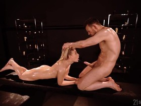 Oiled Hungarian babe gets anally fucked in a candle lit room
