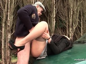 Chubby brunette ass fucked in threeway with Papy Voyeur on a car