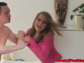 Teen stepsister roughly banged in both holes