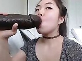 Asian Slavic Mom Rides Her Brother Black Cock