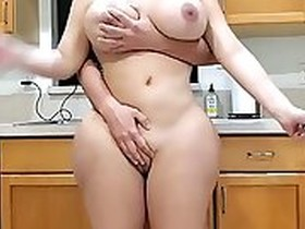 slim ebony girl with a sexy ass is having a lot of fun in the kitchen