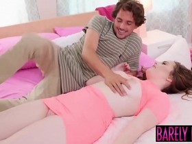 Busty teen River Fox uses dildo before facial inducing plow